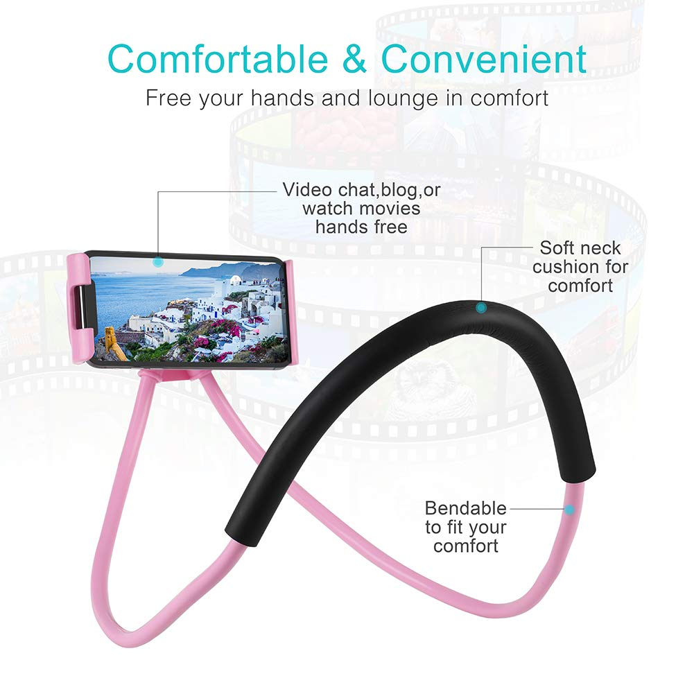 LAX Lazy Neck Phone Holder Pink LAX Gadgets NECKHLDR-PNK Cell Phone Mount Stand for Bed Compatible with iPhone Xs//Max//XR//X // 8//8 Plus Galaxy S9 S8 S7 /& More