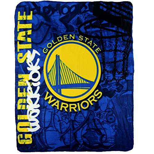 NBA Golden State Warriors Fleece Throw Blanket 50 inch by 60 inch (Fleece Throw State)