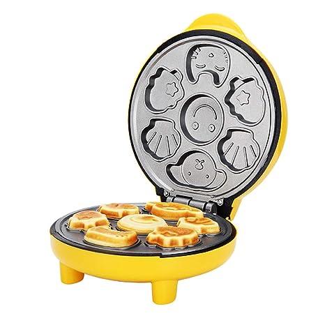 Mzl Dibujos animados pastel máquina Home mini 7 agujero antiadherente automático multifuncional crepe eléctrica torta de