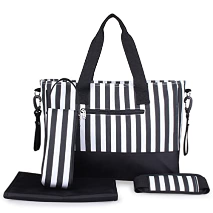 Kangming 5pcs rayas bebé bolsa de pañales bolso cambiador para hospital maternidad con aislamiento botella Holder cambiador negro negro