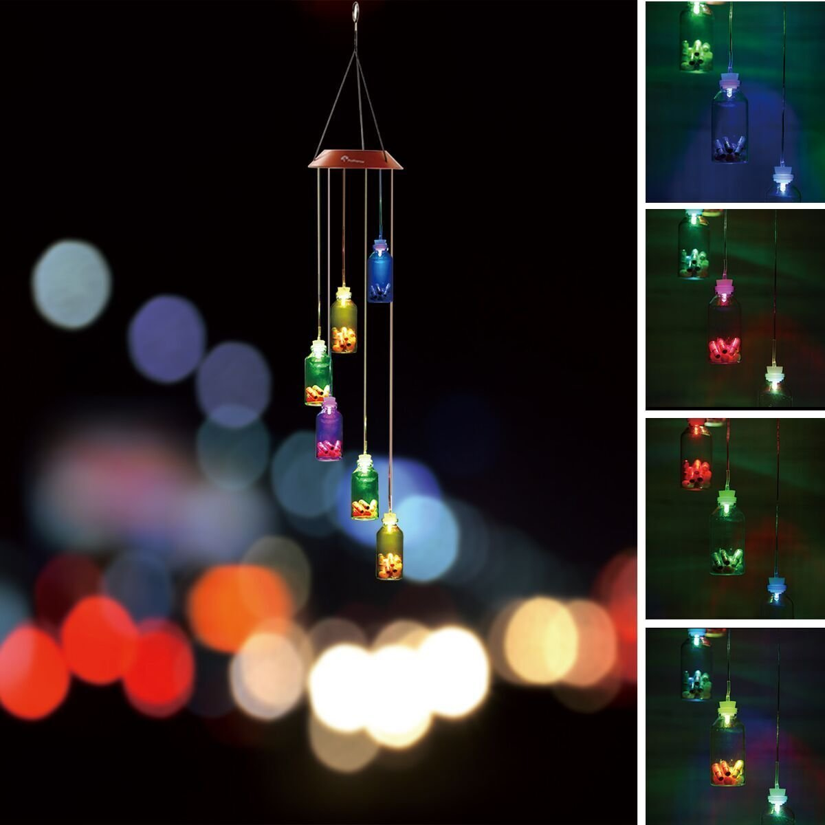 BALANSOHO Solar Mobile Wind Chimes 6 Wish Bottles Color-Changing Waterproof LED Hanging Lamp Night Lights for Outdoor Gardening Home Decoration