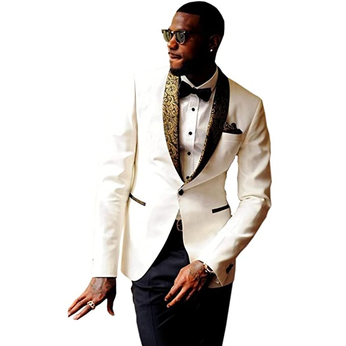 JYDress Mens 2-Piece Groom Suit White One Button Tuxedo Wedding Party Jacket & Pants