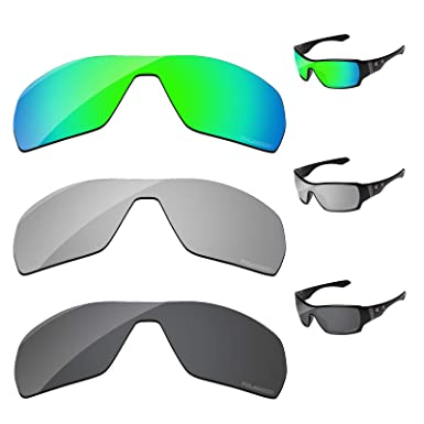 0958bf5c59 PapaViva Lenses Replacement for Oakley Offshoot Black Grey   Chrome Silver    Bluish Green