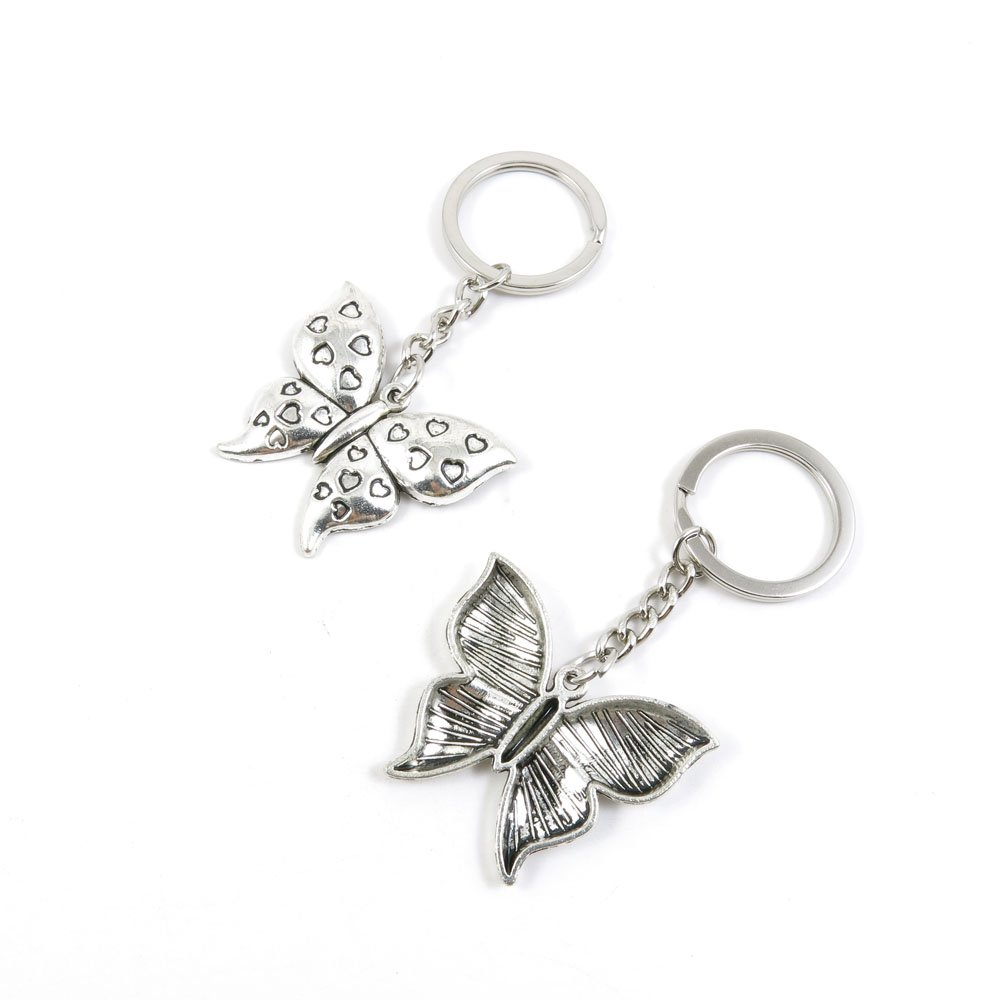 40 Pieces Keychain Door Car Key Chain Tags Keyring Ring Chain Keychain Supplies Antique Silver Tone Wholesale Bulk Lots N2XY6 Butterfly of Love