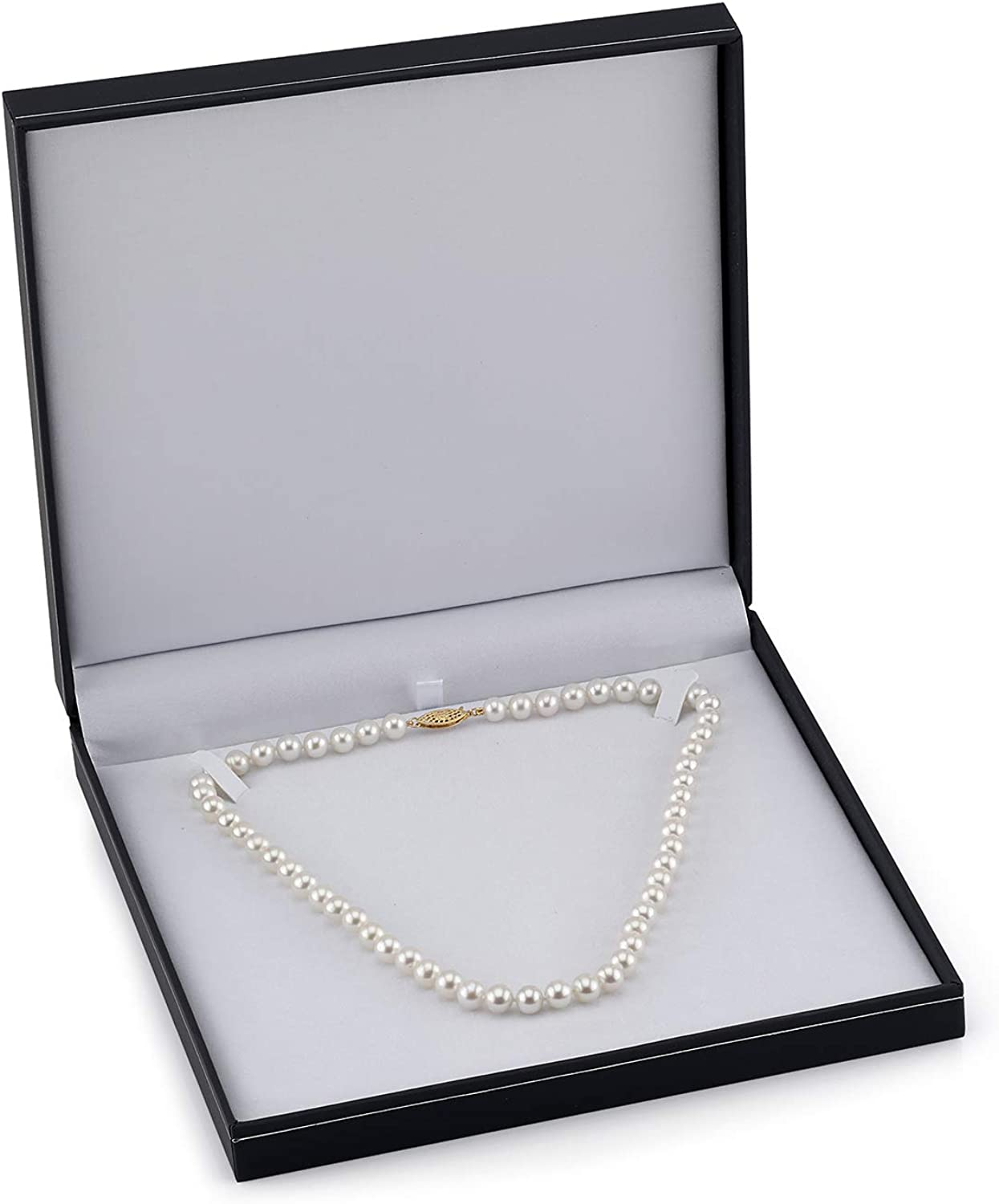 THE PEARL SOURCE 14K Gold 5.0-5.5mm AAAA Quality Round White Freshwater Cultured Pearl Necklace for Women 18 Princess Length