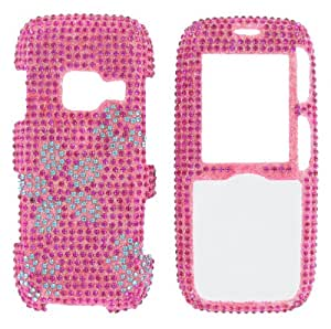 "Flowers on Pink ""Crystal Art"" Bling cover faceplate for LG Rumor Lx260"