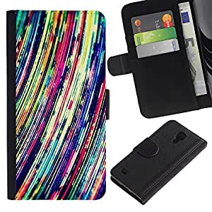 EuroTech - Samsung Galaxy S4 IV I9500 - Abstract Vibrant Art Lines Colorful - Cuero PU Delgado caso Billetera cubierta Shell Armor Funda Case Cover Wallet Credit Card