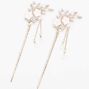 2 Pcs Rhinestone Pearl Flower Hair Stick Chinese Hair Chopsticks Vintage Tassel Hair Pin Chignon Pin Chopsticks Hair Styling Hair Making Accessories for Women (White)