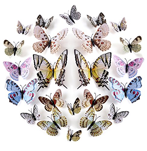 FLY SPRAY Creative 24pcs Vivid Special Man-made Butterfly Decor Removable Wall Stickers with Adhesive Decals Nursery Decoration 3D Crafts (Tips For Painting Outdoor Furniture)