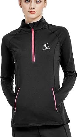Women's Thermal Fleece Running Pullover Half Zip Athletic Long Sleeve Running Top Yoga Jacket with Thumb Holes