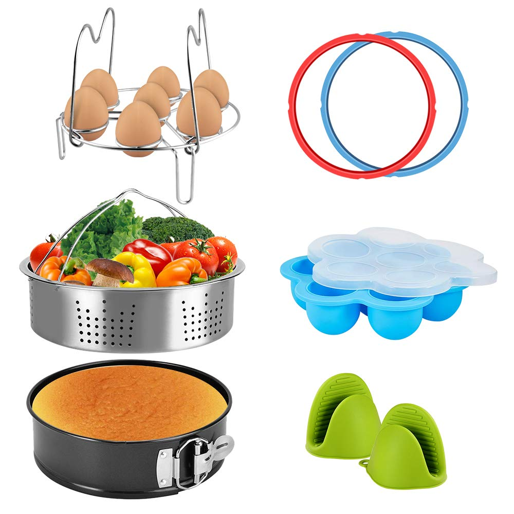 Pressure Cooker Accessories Set Steamer Basket, Egg Bites Mold, Egg Rack, Silicone Mini Oven Mitts, Springform Pan Fits for 6/8 Qt with 2 Pack Sealing Ring for 5 or 6 Quart IP Pot Models (8pcs)