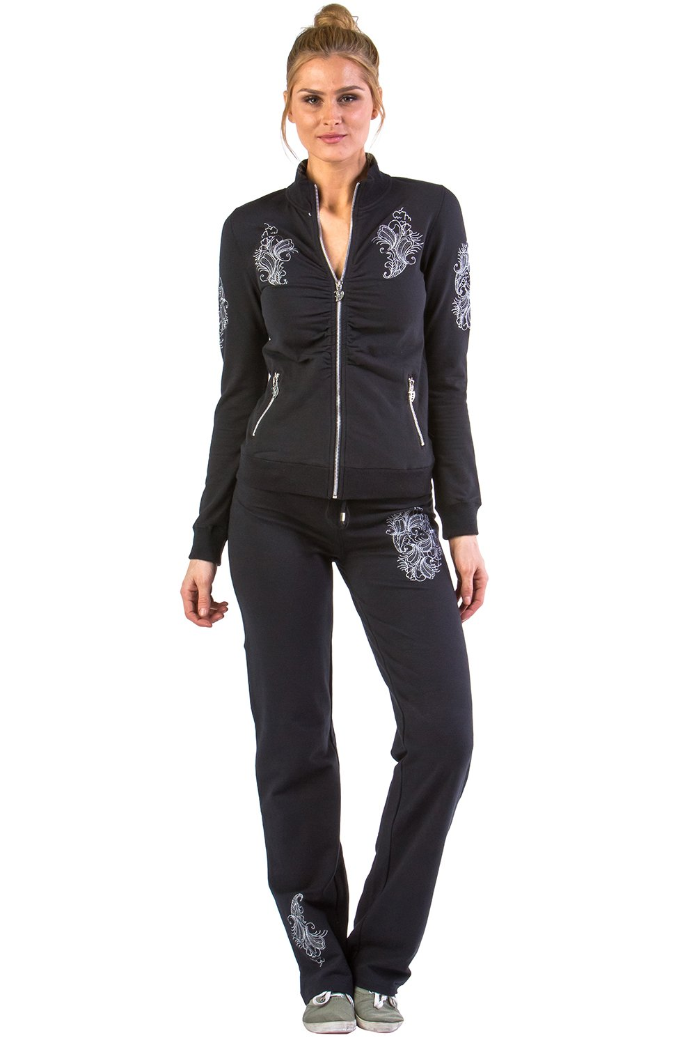 Vertigo Paris Women's Mock Neck Embroidered Lounge Tracksuit Jog Set - Black - Small