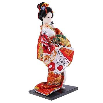 Japanese Brocade Kimono Kabuki Doll Geisha Ladies Figurine Statue Decor #3