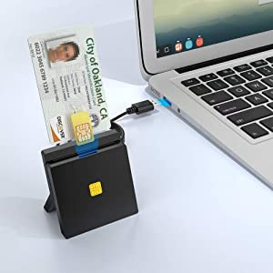 Rocketek DOD Military USB Common Access CAC Smart Card Reader, Standing SIM Card Reader, Compatible with Mac Os, Window, Mac OS 10.6-10.10 and Linux