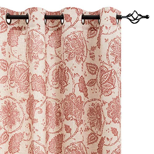 (jinchan Floral Scroll Printed Linen Curtains, Grommet Top - Ikat Flax Textured Medallion Design Jacobean Floral Printed Retro Curtain Panels (Poppy Red, 50-by-95 Inch, 2 Panels))