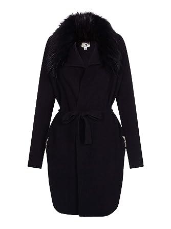 821fa250afd YUMI Faux Fur Zip Pocket Wrap Cardigan Black  Amazon.co.uk  Clothing