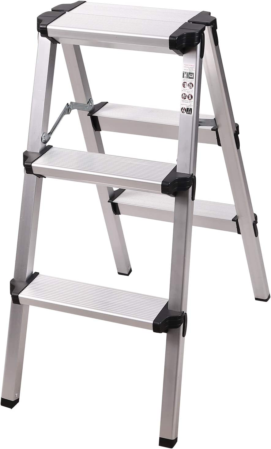 REDCAMP 2-Feet Small Step Ladder 330lbs Capacity, Lightweight Portable Folding Aluminum Step Stool Ladder for Kitchen RV Truck Use, White 3 Step