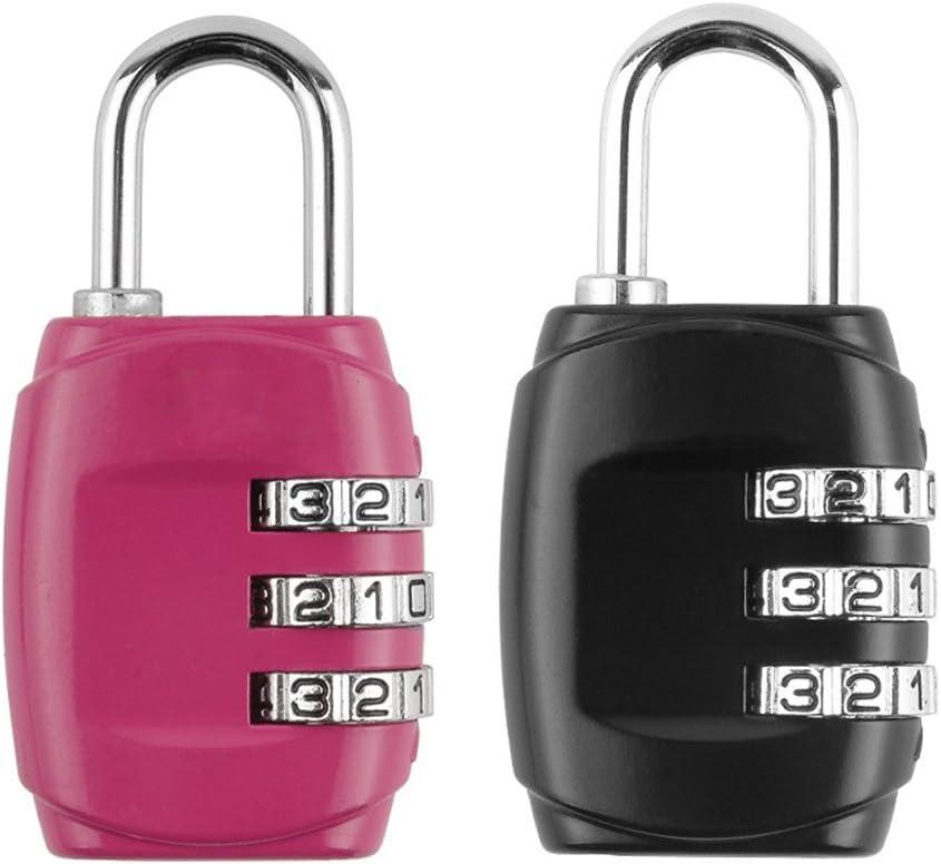 3-Digit Combination Lock von Zinc Alloy, die Small Safe Combination Padlock für Suitcases, Luggage, Briefcases, Computer Bags, Schoolbags, Backpacks, Locker, Drawers, Toolkit und Cabinets, Pack von 2