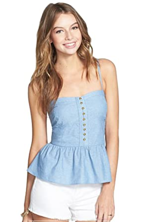 Liberty Love Junior s Corset Nautical Style Gold Button Tank Top Denim Blue  (Small)