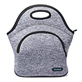 Neoprene Lunch Bag Insulated Lunch Tote Bags Boxes for Adults Men Women Kids Boys Nurses Teens by Cosfash (Blue-grey-lunch bag with pocket)