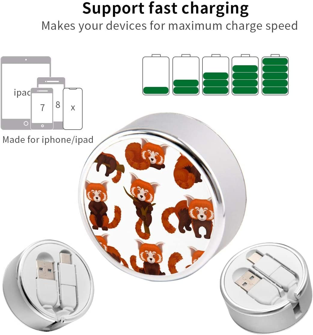 Retractable Multi Cable Pretty Cat Chinesered Panda 2 in 1 Retractable Powerline Type C Data Cable Durable Charging Cable for Android Smartphones and More 4ft