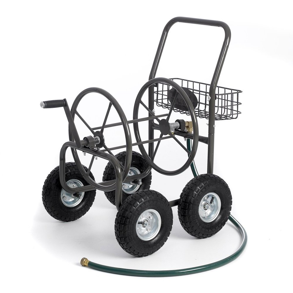 Most Popular Selling Portable Rolling Heavy Duty Steel Hose Reel Cart With Storage Basket Handle- Rust Resistant Polystyrene Finish- Lightweight Frame Pneumatic Tires- 250'of 5/8'' Hose Capacity