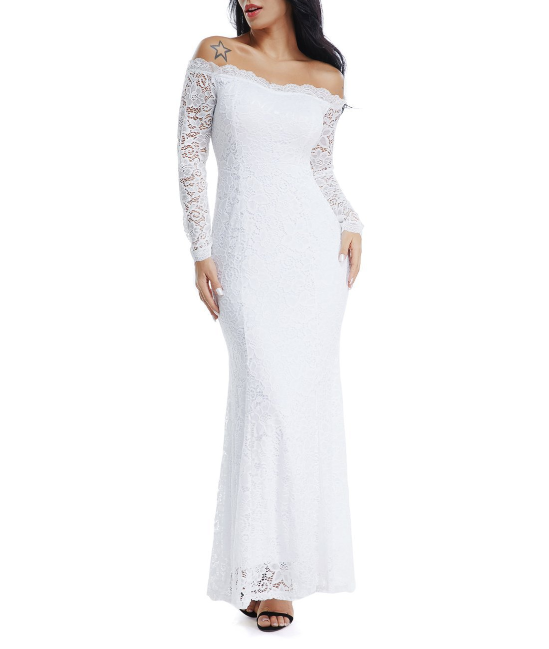 Lalagen Women's Floral Lace Long Sleeve Off Shoulder Wedding Mermaid Dress White1 S by Lalagen (Image #4)