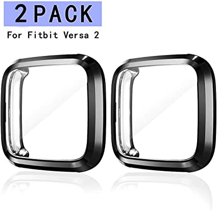 Haojavo 3 Pack Screen Protector Case for Fitbit Versa Soft TPU Slim Fit Full Cover Screen Protector for Fitbit Versa Smartwatch Bands Accessories