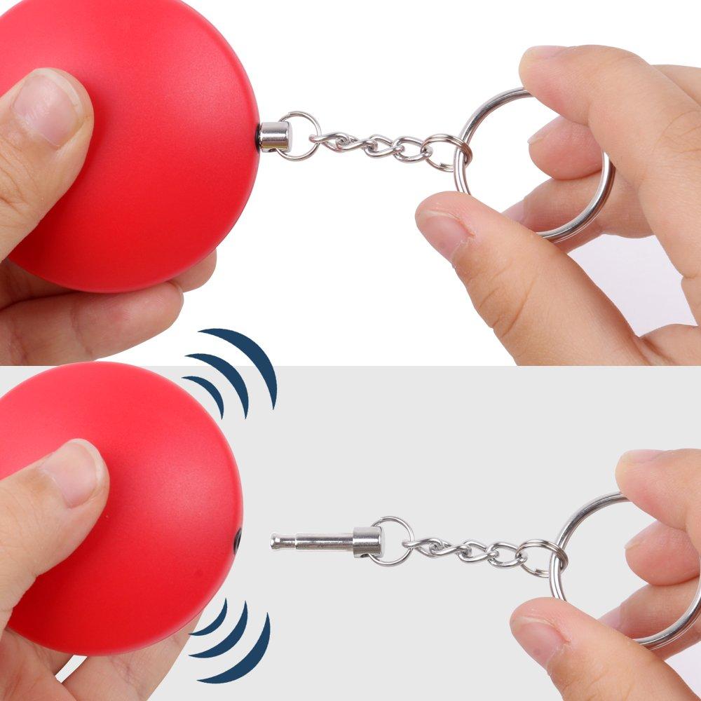 Rouge porte-cl/és alarme de poche Keychain avec 130/dB Alarme Catsonic Alarme personnelle alarme de protection automatique pour femme et enfants EN Noir s/écurit/é pour votre Famille multicolore Lot de 2
