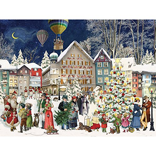 Bits and Pieces - 300 Piece Jigsaw Puzzle for Adults - Christmas Town 300 - 300 pc Jigsaw by Artist Barbara Behr