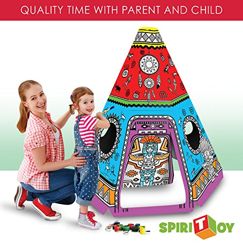Child Play Theater (Spiritoy My Teepee Tent Cardboard Playhouse - Large Corrugated Color In Coloring Play House for Kids - 3.5 Feet Tall, Easy Assembly, Fast Fold - by)