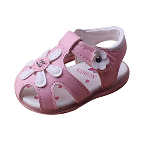 Longra Neonate morbide sandali fondo fiori (Size:21, Rosa)