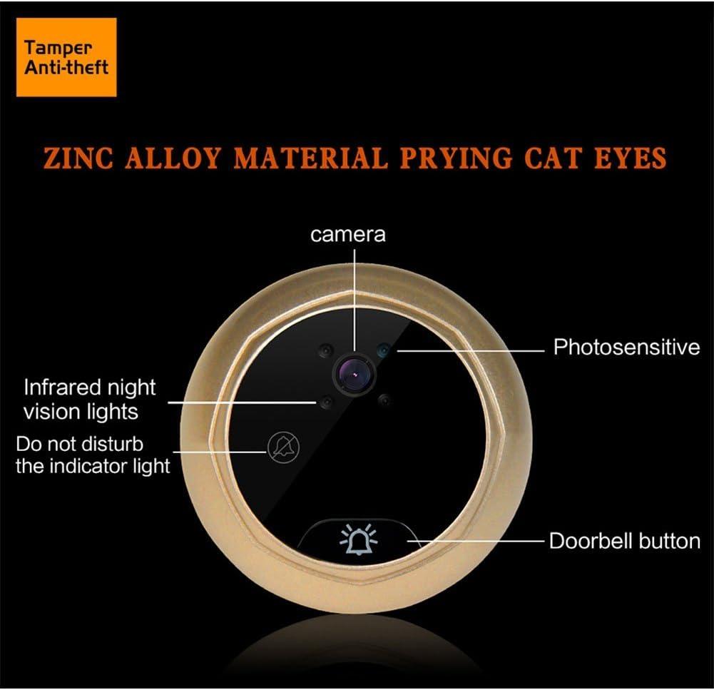 elegantstunning Intelligente WLAN Elektrische T/ür Glocke Kabelloser Digital T/ürspion Cat Eye Haushalt Sicherheit T/ür Spiegel gold