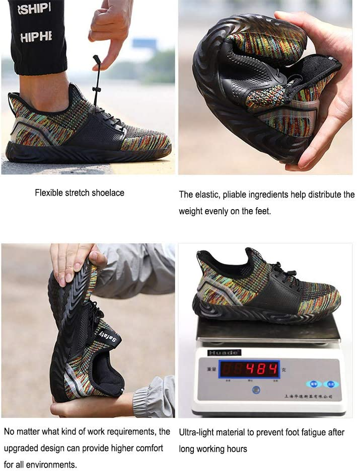 Safety Shoes Steel Toe Cap Safety Boots Trainers Puncture Proof Sneakers Breathable Lightweight for Men Women Mesh Knit Footwear Grey