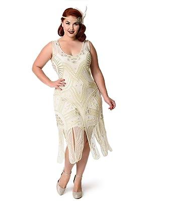 f598437e1f4 Unique Vintage Plus Size 1920s Style Ivory Beaded Sinclair Flapper Dress