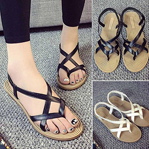 Moonker Women Summer Flat Sandals Wide Width Shoes Ladies Fashion Elastic Band Open Toe Flatform Sandals