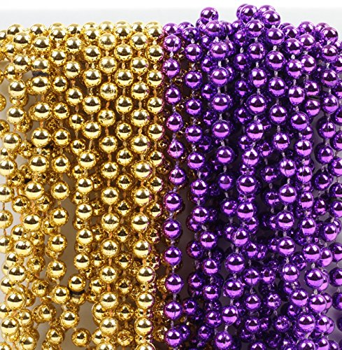 Andaz Press Mardi Gras Plastic Bead Necklaces Duo for Graduation Party Favors and Table Centerpiece Decorations, Purple and Gold, 24-Pack