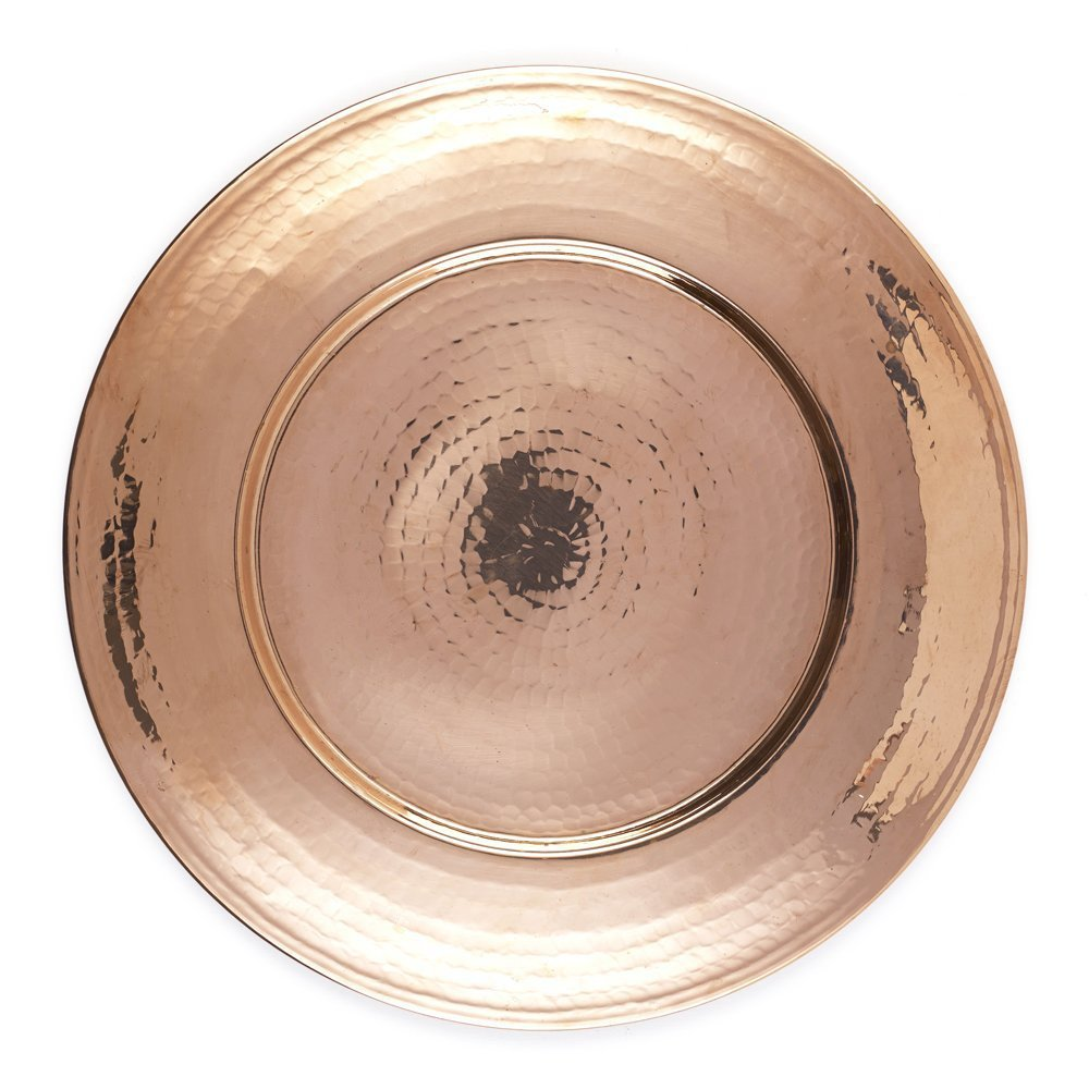 Kuprum Handmade Solid Natural Copper Round Charger Plate 12.5 Decorative and Rustic for Tabletop and Service