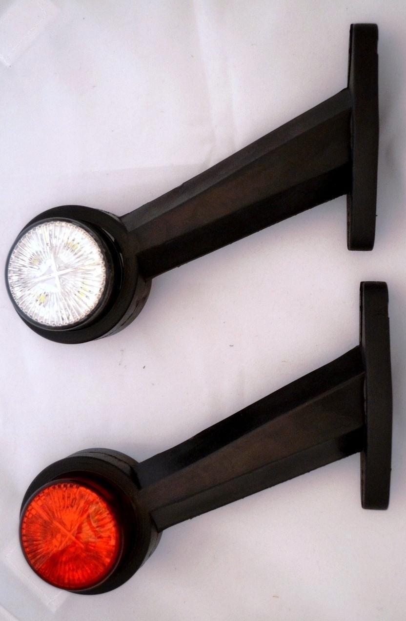Set di 2 luci di posizione laterali, 24 V, colore: bianco/rosso, per telaio di rimorchio, caravan, camper, camion 0111L