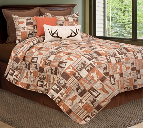 - C&F Home Rustic Buck Ridge Trail Cabin Lodge King 3 Piece Quilt Set King 3 Piece Set Brown