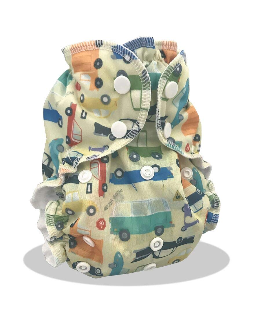 AppleCheeks Re-Usable Washable Cloth Nappy Cover and Organic Cotton//Bamboo 2 Piece Bundle The Shark Side One Size 6-35lb Approx