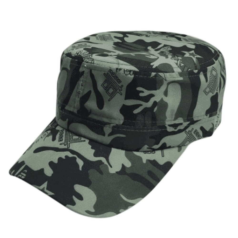 Mens Military Cotton Flat Hat Retro Camouflage Army Cadet Patrol Hat Summer Casual Sunscreen Cap Outdoor Baseball Cap (Green)