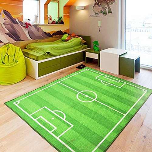 HUAHOO FUNS Soccer Field Ground Area Rug Sports Rug Playroom Carpet Kids Area Play Rug Green Football Pitch Rug (100x130cm(39''x51'')) (Soccer Rug Field)