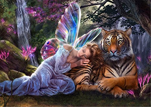 DIY 5D Diamond Painting by Number Kits, Crystal Rhinestone Diamond Embroidery Paintings Pictures Arts Craft for Home Wall Decor, Girl and Tiger