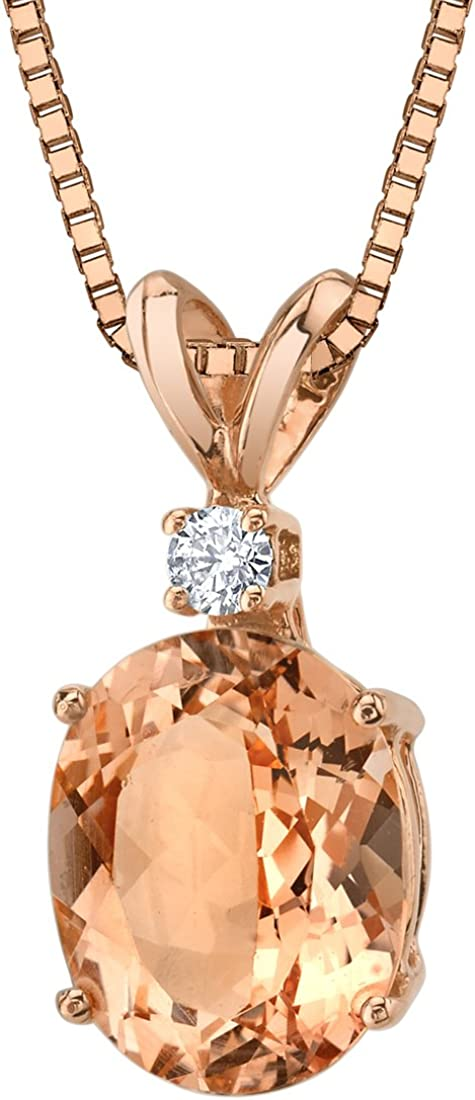 14 Karat Rose Gold Oval Shape 2.50 Carats Morganite Diamond Pendant