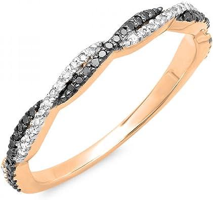 ctw 14K Gold Round Diamond Ladies Anniversary Wedding Stackable Band Swirl Ring 1//4 CT Dazzlingrock Collection 0.25 Carat