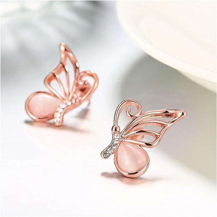 Girls Jewelry 18k Rose Gold Plated Opal Butterfly Stud Earrings Asymmetric Wing Cubic Zirconia Charm Piercing