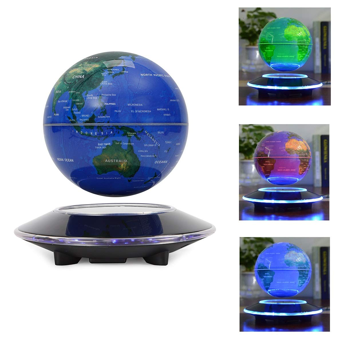 WUPYI 6'' Magnetic Levitation Floating Globe Anti Gravity Rotating World Map with LED Light 7 Colors Display Floating Globe for Children Educational Gift Home Office Desk Decoration (Colorful Light) by WUPYI