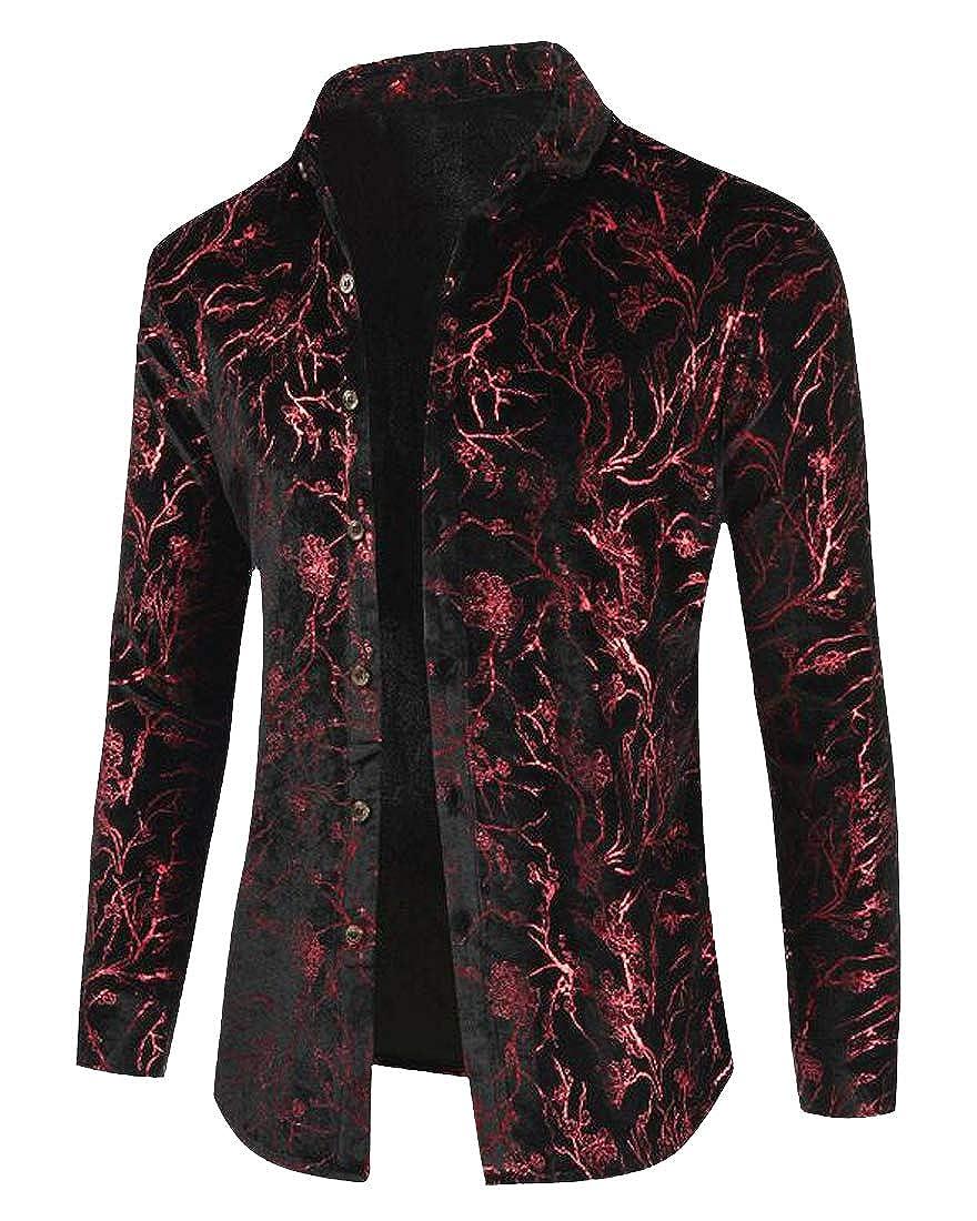 YYG Mens Lapel Neck Casual Regular Fit Long Sleeve Print Button Up Dress Shirt