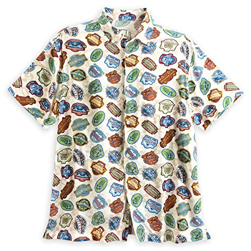 Mickey Mouse Hawaiian Shirt - Disney Hawaiian Style Vacation Club Resort Logo Woven Button Up Shirt for Men (Small)